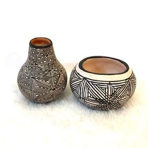 Acoma NM Pueblo Miniature Fine Line Pottery Bowls